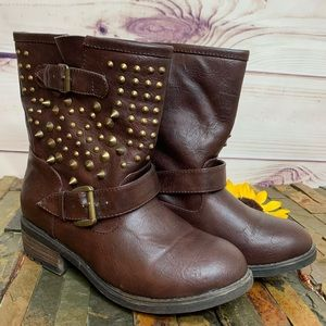 BAMBOO Brown Studded Moto Faux Leather Boots